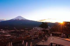 富士山顶视图  库存图片