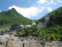 富士箱根公园含硫来源的蒸汽 免版税库存图片