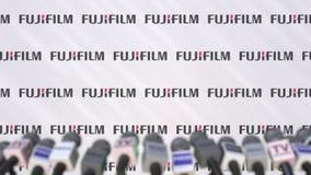 富士胶片,有商标和话筒的,社论动画新闻墙壁传播噱头  股票录像