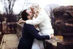 富有修饰,并且新娘huggingoutdoor背景墙壁草温暖a 库存照片