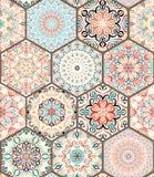 富有的六角形瓦片装饰品 库存图片