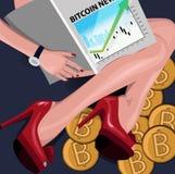 富有的女孩坐与一本财政杂志的bitcoins 概念性例证,剪贴美术 库存图片