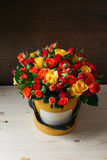 富有的束桃红色南北美洲香草和玫瑰开花,绿色叶子手中新鲜的春天花束 夏天背景 构成 库存照片