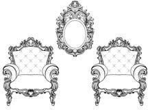 富有的皇家巴洛克式的洛可可式的被设置的家具和框架 法国豪华被雕刻的装饰品 传染媒介维多利亚女王时代的精妙的样式 免版税库存图片