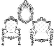 富有的皇家巴洛克式的洛可可式的被设置的家具和框架 法国豪华被雕刻的装饰品 传染媒介维多利亚女王时代的精妙的样式 库存图片