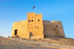 富查伊拉,阿拉伯联合酋长国- 2014年12月:对老富查伊拉堡垒Al位的看法 免版税图库摄影