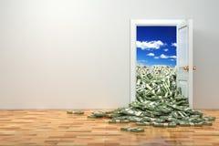 财富的概念。开门和堆美元。 库存图片
