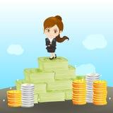 富裕动画片的女实业家 免版税库存图片