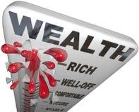 财富词温度计富有的金融证券 库存照片