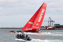 富豪集团与Mapfre游艇的海洋种族在奥尔胡斯港口在丹麦 免版税图库摄影