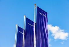 富豪集团在蓝天的经销权旗子 库存照片