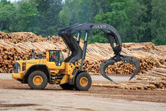 富豪集团L180F百升在堆木场的日志装载者 免版税库存照片