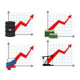 财富集合图表成长  箭头的红色 o增加的赢利  图库摄影