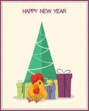寒假与圣诞树、礼物盒和雄鸡的贺卡 免版税图库摄影