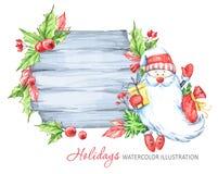 寒假例证 与圣诞老人的水彩木制框架 免版税图库摄影
