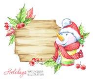 寒假例证 与雪人的水彩木制框架 免版税库存图片