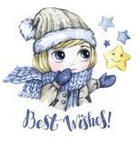 寒假例证 水彩小男孩看星 invitation new year 词最佳的坚韧的枝条 免版税库存照片