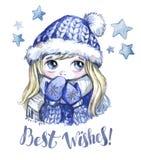 寒假例证 有大眼睛的水彩逗人喜爱的女孩在温暖的衣裳 invitation new year 最好祝愿 库存图片