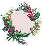 寒假卡片海报的水彩树胶水彩画颜料葡萄酒减速火箭的手画圣诞节花圈框架装饰杉树分支 库存例证