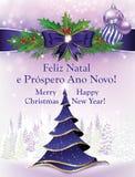 寒假季节的葡萄牙贺卡 免版税库存照片