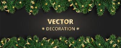 寒假背景 与圣诞树分支和装饰品的边界 免版税库存照片