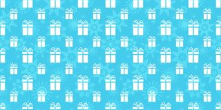 寒假背景 把无缝礼品的模式装箱 与礼物象和雪花的重复的纹理 蓝色和 库存例证