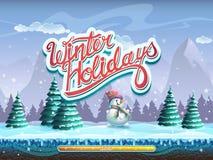 寒假雪人起动计算机游戏的凉窗 免版税库存照片