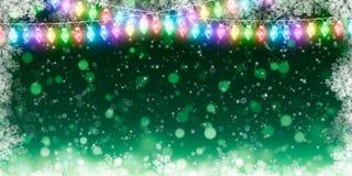 寒假backgroundgreen与雪花 库存照片