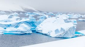 寒冷仍然浇灌有漂移的巨大蓝色南极海盐水湖 免版税库存图片