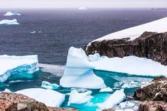 寒冷仍然浇灌有漂移的蓝色冰南极海盐水湖 图库摄影