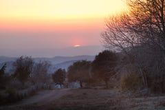 寒冷冬天日落晚上 图库摄影
