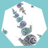 寒冷定调子在多角形的装饰蜗牛 免版税库存图片