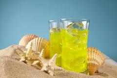 寒冷饮料和壳在海滩 免版税图库摄影