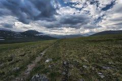 寒带草原风景在北瑞典 免版税库存照片