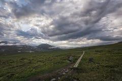 寒带草原风景在北瑞典 免版税库存图片