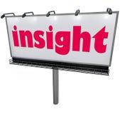 洞察词广告牌信息解释的分析智慧 免版税库存照片