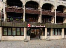 对一个上瓦尔登州州银行办公室的入口在昂热尔贝格, Switz 免版税库存照片