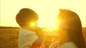 对一个小女儿的妈妈谈话 孩子在母亲的胳膊坐 幸福家庭在公园在春天走 股票视频