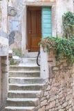 对一个老房子的进口的石楼梯在罗维尼 库存照片