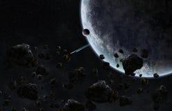 对一个行星的陨石冲击在空间 库存图片