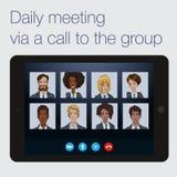 对一个遥远的项目小组的每日电话 库存图片
