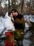 对一对年轻夫妇的告别在一个冬天停放 库存照片