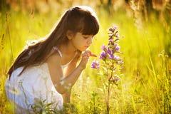 对一朵野花的女孩接触 免版税库存照片