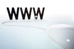 对万维网的被连接的鼠标 库存图片