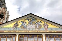 对三位一体troyeshchina的结构大教堂神圣洁基辅安排服务 萨拉托夫,俄罗斯 免版税库存图片