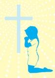 对上帝背景例证的一个祷告 免版税库存照片