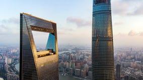 对上海环球金融中心和上海中心大厦的看法 免版税库存图片