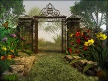 对不可思议的庭院的门 库存图片