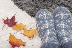 对与雪花的被编织的袜子和maplle五颜六色的秋叶  免版税库存照片