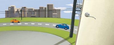 对世界打开门 反对天空蔚蓝和绿色领域的城市 在路的两辆汽车 电杆 都市牧人 免版税图库摄影